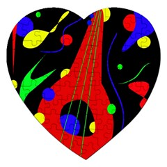 Abstract Guitar  Jigsaw Puzzle (heart) by Valentinaart