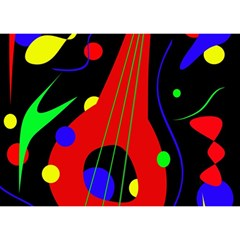 Abstract Guitar  Birthday Cake 3d Greeting Card (7x5)