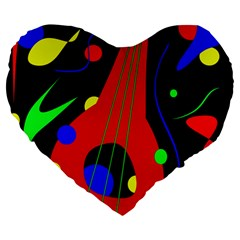 Abstract Guitar  Large 19  Premium Heart Shape Cushions by Valentinaart