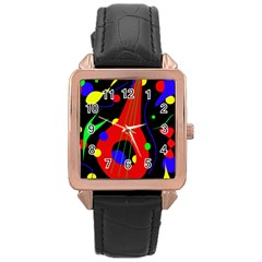 Abstract Guitar  Rose Gold Leather Watch  by Valentinaart