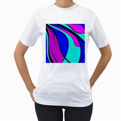 Purple And Blue Women s T Shirt (white) (two Sided) by Valentinaart