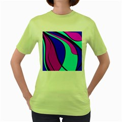 Purple And Blue Women s Green T-shirt by Valentinaart