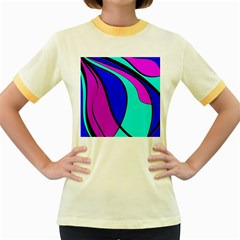 Purple And Blue Women s Fitted Ringer T-shirts by Valentinaart