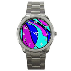 Purple And Blue Sport Metal Watch by Valentinaart