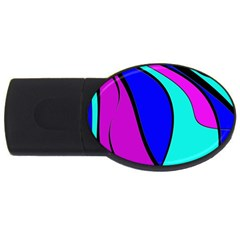 Purple And Blue Usb Flash Drive Oval (4 Gb)  by Valentinaart