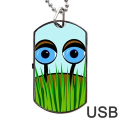 Snail Dog Tag Usb Flash (two Sides)  by Valentinaart