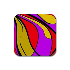 Colorful Lines Rubber Square Coaster (4 Pack)  by Valentinaart