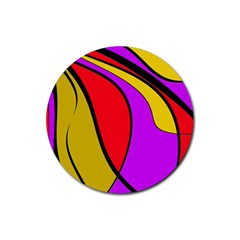 Colorful Lines Rubber Coaster (round)  by Valentinaart