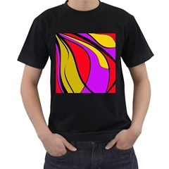 Colorful Lines Men s T Shirt (black) (two Sided) by Valentinaart