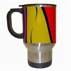 Colorful Lines Travel Mugs (white) by Valentinaart