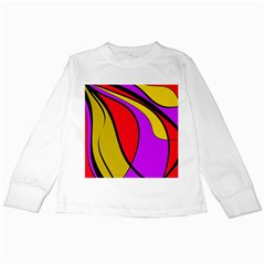 Colorful Lines Kids Long Sleeve T Shirts by Valentinaart
