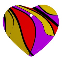 Colorful Lines Heart Ornament (2 Sides) by Valentinaart