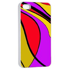 Colorful Lines Apple Iphone 4/4s Seamless Case (white) by Valentinaart