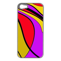 Colorful Lines Apple Iphone 5 Case (silver) by Valentinaart