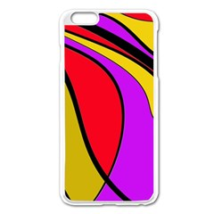 Colorful Lines Apple Iphone 6 Plus/6s Plus Enamel White Case by Valentinaart