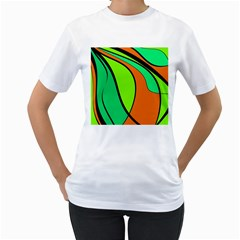 Green And Orange Women s T-shirt (white) (two Sided) by Valentinaart