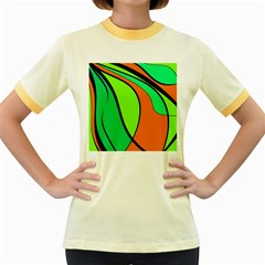 Green And Orange Women s Fitted Ringer T Shirts by Valentinaart