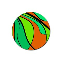 Green And Orange Rubber Round Coaster (4 Pack)  by Valentinaart