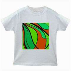 Green And Orange Kids White T Shirts by Valentinaart