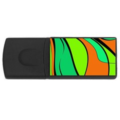 Green And Orange Usb Flash Drive Rectangular (4 Gb)  by Valentinaart