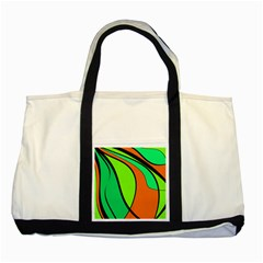 Green And Orange Two Tone Tote Bag by Valentinaart