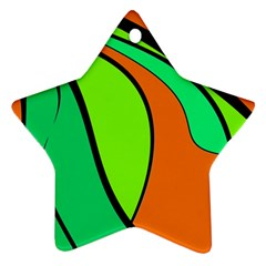 Green And Orange Star Ornament (two Sides)  by Valentinaart