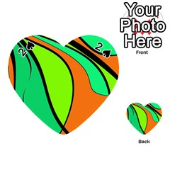 Green And Orange Playing Cards 54 (heart)  by Valentinaart