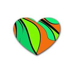 Green And Orange Heart Coaster (4 Pack)  by Valentinaart