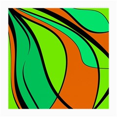 Green And Orange Medium Glasses Cloth by Valentinaart