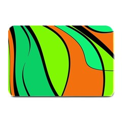 Green And Orange Plate Mats by Valentinaart