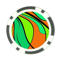 Green And Orange Poker Chip Card Guards by Valentinaart