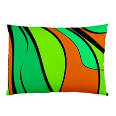 Green And Orange Pillow Case by Valentinaart