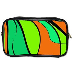 Green And Orange Toiletries Bags by Valentinaart