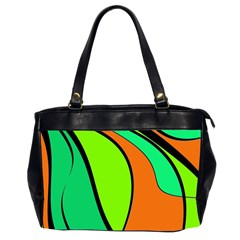 Green And Orange Office Handbags (2 Sides)  by Valentinaart