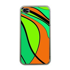 Green And Orange Apple Iphone 4 Case (clear) by Valentinaart