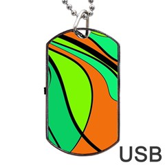 Green And Orange Dog Tag Usb Flash (one Side) by Valentinaart