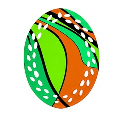 Green And Orange Ornament (oval Filigree)  by Valentinaart