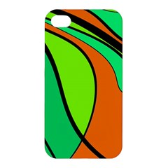 Green And Orange Apple Iphone 4/4s Premium Hardshell Case by Valentinaart