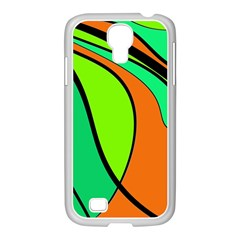 Green And Orange Samsung Galaxy S4 I9500/ I9505 Case (white) by Valentinaart