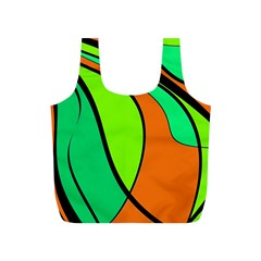 Green And Orange Full Print Recycle Bags (s)  by Valentinaart