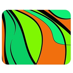 Green And Orange Double Sided Flano Blanket (medium)  by Valentinaart