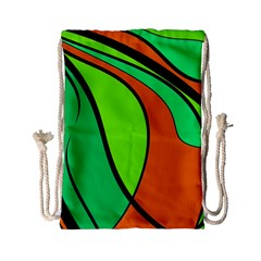 Green And Orange Drawstring Bag (small) by Valentinaart