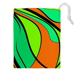Green And Orange Drawstring Pouches (xxl) by Valentinaart
