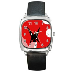 Black Butterfly  Square Metal Watch by Valentinaart