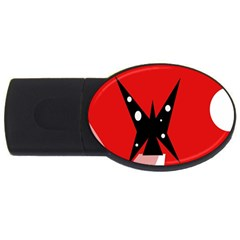 Black Butterfly  Usb Flash Drive Oval (4 Gb)  by Valentinaart
