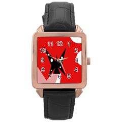 Black Butterfly  Rose Gold Leather Watch