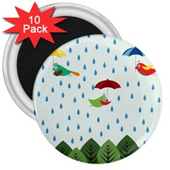Birds In The Rain 3  Magnets (10 Pack)  by justynapszczolka
