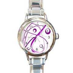 Purple Elegant Design Round Italian Charm Watch by Valentinaart