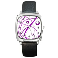 Purple Elegant Design Square Metal Watch by Valentinaart