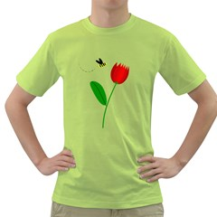 Red Tulip And Bee Green T-shirt by Valentinaart